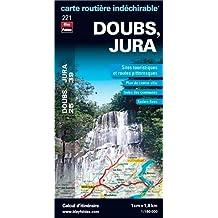 Doubs (25), Jura (39) - Carte départementale, routière et touristique (échelle : 1/180 000)