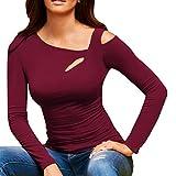 SEWORLD 2018 Damen Mode Sommer Herbst Beiläufige Kalte Shoulder Tops Langarm T-Shirt Oberteile (Weinrot,EU-38/CN-S)