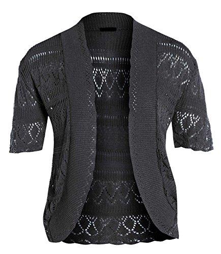 neuen Frauen Crochet Knit Cardigans Fischnetz Bolero Top 44-54 Charcoal