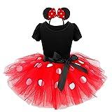 iiniim Mädchen Festlich Prinzessin Kleid Polka Dot Ballettkeider Trikot Tanzkleider Fasching Karneval Cosplay Kleid mit Tüll Rock Rot+Haarreif 92/2 Jahre