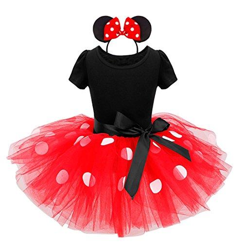 iiniim Mädchen Festlich Prinzessin Kleid Polka Dot Ballettkeider Trikot Tanzkleider Fasching Karneval Cosplay Kleid mit Tüll Rock Rot+Haarreif 128/8 Jahre