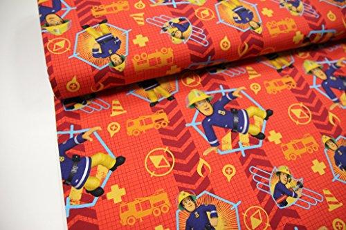"""Stoff / 50cmx140cm / Kinder / beste Jersey-Qualität / Jersey Lizenzstoff """"Feuerwehrmann Sam"""" auf orange / rot"""