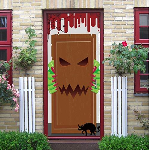 3D Tür Aufkleber Halloween Essen Monster Tür Europäischen Stil Wandaufkleber Schlafzimmer Wohnzimmer Kleid Poster PVC Wasserdicht Applique Von Qt XINGMU