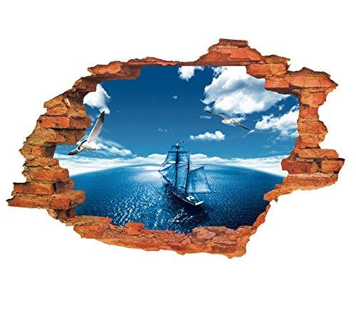 Homesave 3D Blue Sky Sea Segeln Wandaufkleber Wohnzimmer Schlafzimmer Dekoration Aufkleber