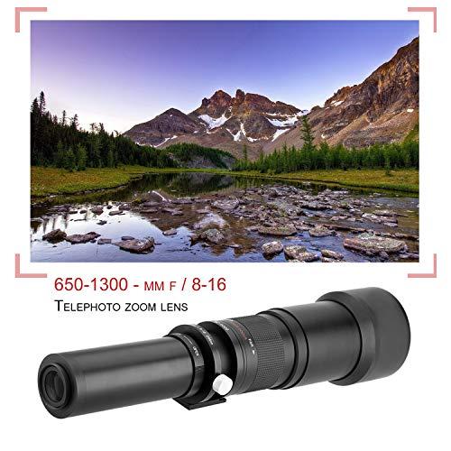 Lightdow 650-1300mm F8-16 Long Shot Zoom manuale Obiettivo T2 Mount per Canon (Colore: nero)