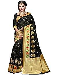 Aarti Apparels Women's Designer Banarasi Silk Saree_Black_THNCS-1006