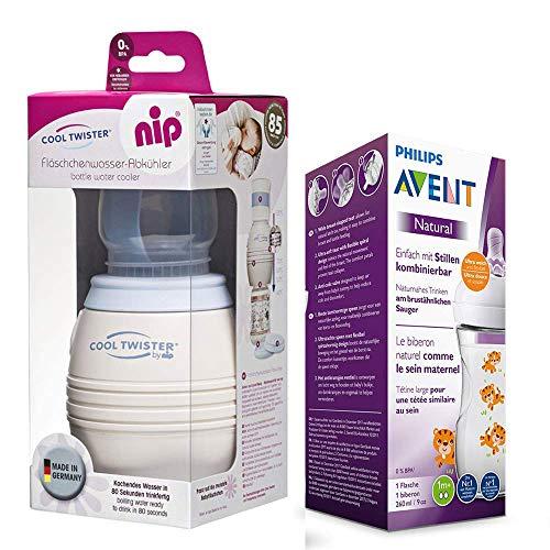 NIP Flaschenkühler Cool Twister NEU inkl. inkl. 1 x Philips Avent NaturNah Flasche mit Motiv 260ml mit Sauger 1 Mo+ (Kühler Für Babynahrung)