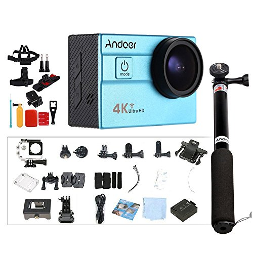 "Andoer Ultra HD acción Cámara Deportiva 2.0""LCD 16MP 1080P 60FPS 25FPS 4K 4X Zoom 25mm 173 Grados WiFi 30M Impermeable Coche DVR DV CAM + 8 en 1 Accesorios + Selfie Palo"