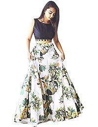 Clickedia Women's Cotton Silk Lehenga Choli With Blouse Piece_Black white floral_Free Size