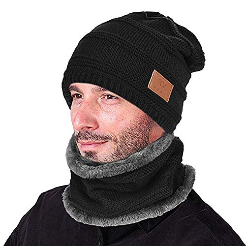 Opard Wintermütze Warm Beanie Strickmütze und Schal mit Fleecefutter (Schwarz)
