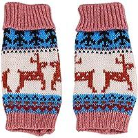 FENICAL 1 Par Navidad Ciervo de Copo de Nieve Guantes sin Dedos Guantes Cálidos Invierno Guantes de Lana para Hombres Mujeres (Piel Rosa)