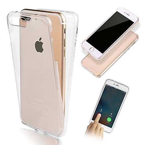 360 Degrés Coque transparente ultra fine All Inclusive Housse Couvertures Avant et Arrière clair transparent Soft Gel Silicone TPU pour Apple iPhone 5/5s, 6/6s. 6 Plus, iphone 7 Phone Sacs Blanc (Transparent, iphone 7PLUS)