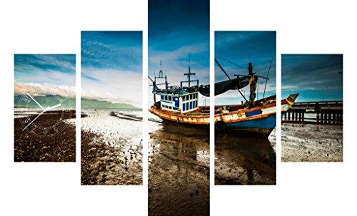 Fünf Elemente Uhr Fischerboot Wrack Flache Küste Wanduhr (Flache Fischerboote)