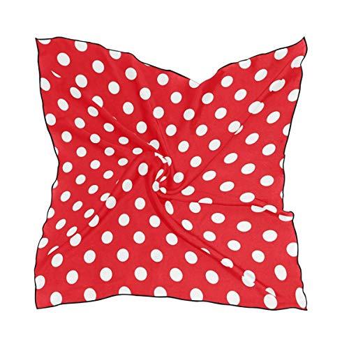 Voxpkrs White Red Polka Dots Damen Polyester Square Scarf Chiffon Lightweight Neck Kopftücher Halstuch Chiffon Square Neck