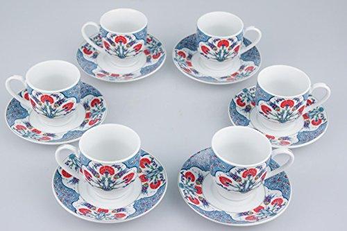 Edles Mokkaservice von Sultan 'Harem' von Istanbul Porselen/ Espressoservice/ Kaffeeservice aus feinem Porzellan/ 6 Tassen/ 6 Untertassen/ in praktischer Geschenkverpackung/ mit authentischem Muster