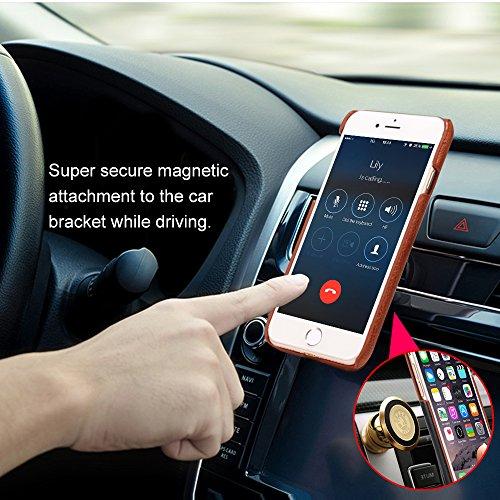 Custodia iPhone 7, 2 in 1 Flip Magnetica Custodia in pelle Protettiva Case Portafoglio Cover Supporto Stand con Porta Carte e PC Cover per iPhone 7 (Brown - Marrone) Brown - Rosso