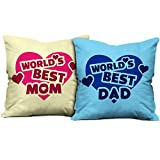 Gift for Father Mother Dad Mom Birthday Anniversary World's Best Mom & World's Best Dad Beidge & Light Blue Printed 12X12 Small Cushion with Filler set of 2 Everyday Home Decor Gifting