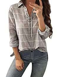 Lolittas Spring New Sexy Women, Grey Cotton Checked Plaid Turn Down Collar Bandage V Neck Long Cuffed Sleeve,Casual Work Loose Base T-Shirts Tops Blouse Pullover Sweatshirt Size S-XL