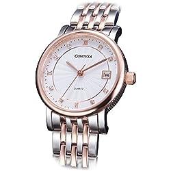 Comtex Women's Quartz Watch Rose Gold Tone with Stainless Steel Bracelet Ladies Wrist Watch