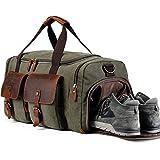 Weekender Canvas Reisetasche mit Schuhfach Vintage Herren Damen Handgepäck (Armeegrün)