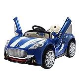 homcom - Macchinina Elettrica per Bambini Sportiva MP3 velocità 3-5Km/h in PP Blu, 119 × 71 × 54cm