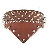 Hundehalsband Halsbänder mit Tuch aus Leder mit Nieten Handarbeit für große Hunde Hunter Dogge Mastiff, Braun XXL