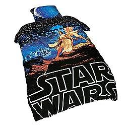 Character World Star Wars Wende Bettwäsche A New Hope 2tlg 80x80cm 135x200cm Elbenwald Baumwolle schwarz blau