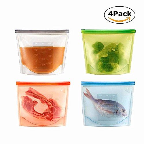 Chickwin 4PCS Silikon-Lebensmittel Aufbewahrungstasche Kochbeutel Wiederverwendbare Vielseitige 100% auslaufsicher Vakuum Konservierung Tasche für Obst Gemüse Fleisch Food Grade Silikon (Zufällige 4pcs)