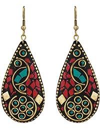 ZIKU JEWELRY Red Non-Precious Metal Tibetan Style Dangle and Drop Hook Earrings for Women