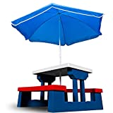 Children Table and Bench Picnic Set with Parasol Kids Garden Play Furniture 4 Seater