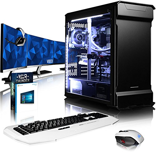 Preisvergleich Produktbild VIBOX Luminos GXR780-254 Gaming PC Computer mit Spiel Bundle,  Win 10 Pro,  3X Triple 27 Zoll HD Monitor (4, 3GHz Ryzen 8-Core,  KFA2 Hof GeForce GTX 1080 Grafikkarte,  8Go DDR4 RAM,  480GB SSD,  1TB HDD)