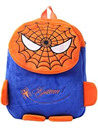 Suredeal Spider Man Cute Soft Toy School Bag For Kids (Blue & Orange)