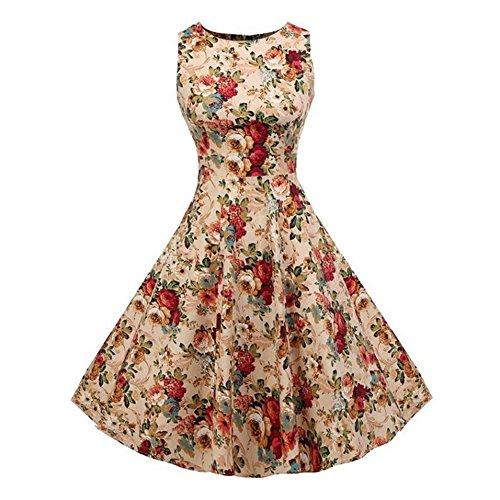 Newbestyle Sommer Damen 50s Kleid Retro Vintage Kleid I1