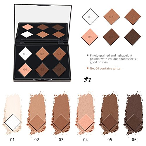 BOBORA 6 Farbe Shades Contour Highlight Gepresste Pulver 3D Reparatur Pulver Nase Shadow Modified Powder (Makeup Long-wear Remover)