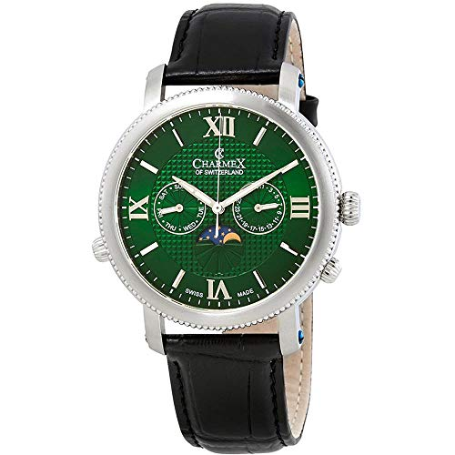 Charmex Men's Salzburg 42mm Black Leather Band Quartz Green Dial Watch 2968