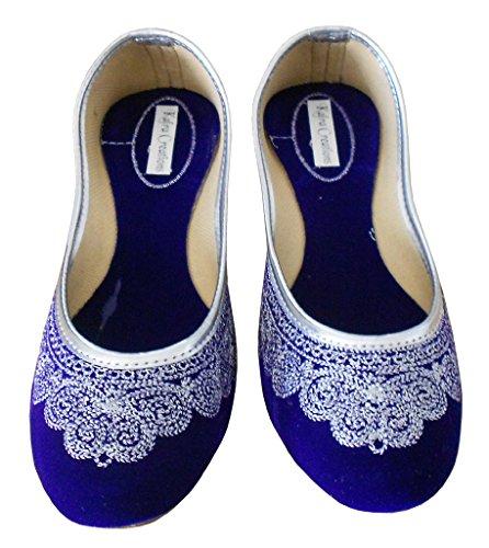Kalra Creations da donna tradizionale a mano in velluto indiano Designer Scarpe Blu