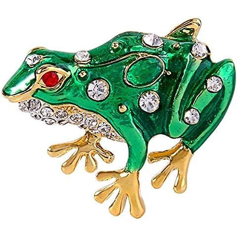 EVER FAITH®femminile cristallo verde dello smalto bello della rana Spilla Pin animale trasparente Gold-Tone - Gioielli Della Rana Pin
