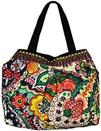 Multicolor Toile épaule sac fourre-tout avec motif floral et Rinestone Patch
