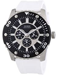 Guess W10616G2 - Reloj cronógrafo de cuarzo para hombre con correa de silicona, color blanco