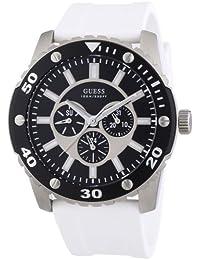 05befc7f14dd Guess - W10616G2 - Montre Homme - Quartz Analogique - Cadran Noir - Bracelet  Silicone Blanc