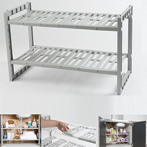 UNDER SINK STORAGE UNIT CADDY RACK ORGANISER SHELF ADJUSTABLE SHELVES CABINET