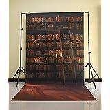 NIVIUS PHOTO® 150x300cm Brown Bücherregal Backdrop Weihnachten Hintergrund Geburtstag Kinder Wanddekoration Party Geschenk XT-3642
