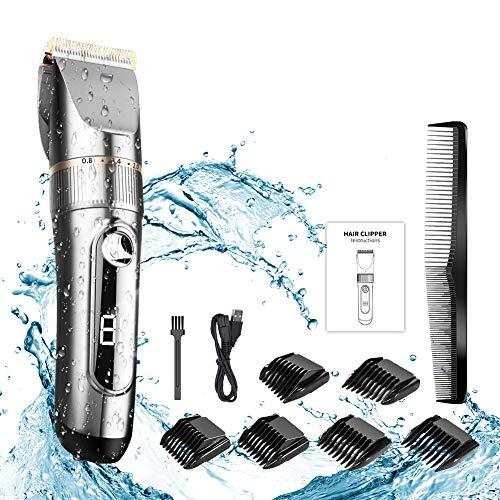 NWOUIIAY IPX7 Wasserdichter Haarschneider Trimmer Rasierer Einstellbarer Titan-LCD-Bildschirm mit menschlicher Klinge (Titan-klinge)