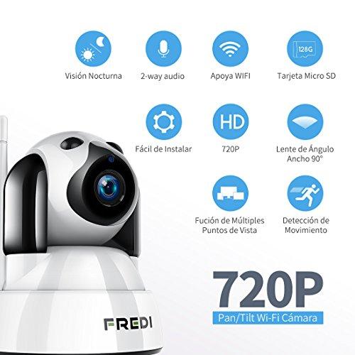 FREDI Baby Monitor IP WiFi P2P Cámara de Vigilancia / Seguridad Inalámbrica HD 720P Camara de Vigilabebes  IR Vision nocturna  Admite MicroSD de hasta 128 GB Detección de Movimiento