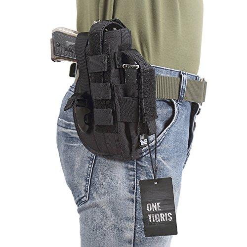 OneTigris-L' Custodia a pistola fondina Molle tattico di Glock 1911459296con la tasca di rivista per Softair Caccia, nero, 13*20cm - Tattico Pistola