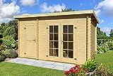Gartenhaus G227 inkl. Fußboden und Dachpappe - 28 mm Blockbohlenhaus, Grundfläche: 9,50 m², Pultdach