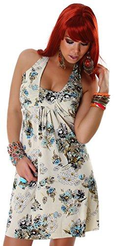 Lili Damen Minikleid mit verschiedenen Mustern Beige