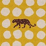 Senfgelbes Wachstuch mit Leoparden und naturfarbenen