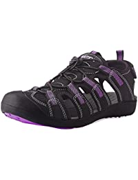 GRITION Womens Walking Sandals, Outdoor Summer Sandals Adjustable Closed Toe Sandal Shoes Sport Hiking Running Sandals Quick Dry Water Shoes Purple/Black