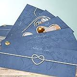 Danksagung Goldene Hochzeit, Starke Verbindung 200 Karten, Kartenfächer 210x80 inkl. weißer Umschläge, Blau